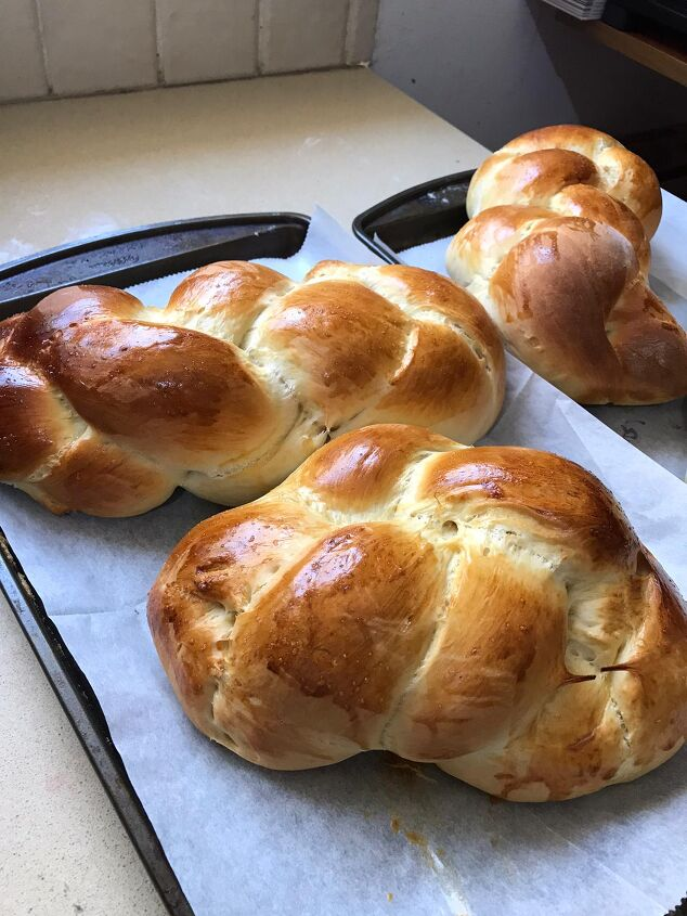 the easiest no mixer challah recipe, Fresh out of the oven
