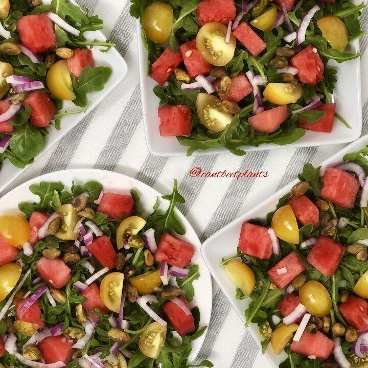 watermelon and arugula salad with raspberry vinaigrette