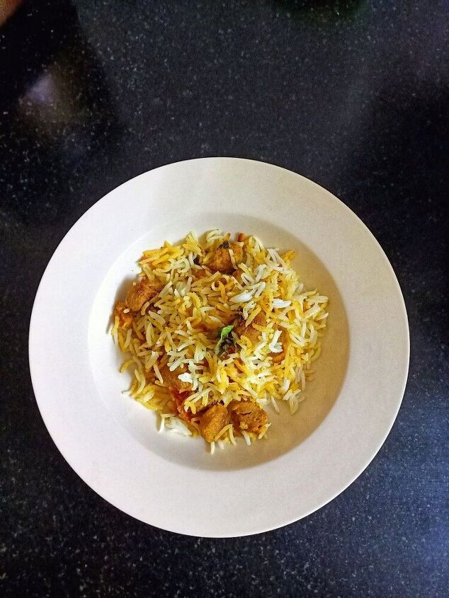 soya chunks pulao with leftover rice