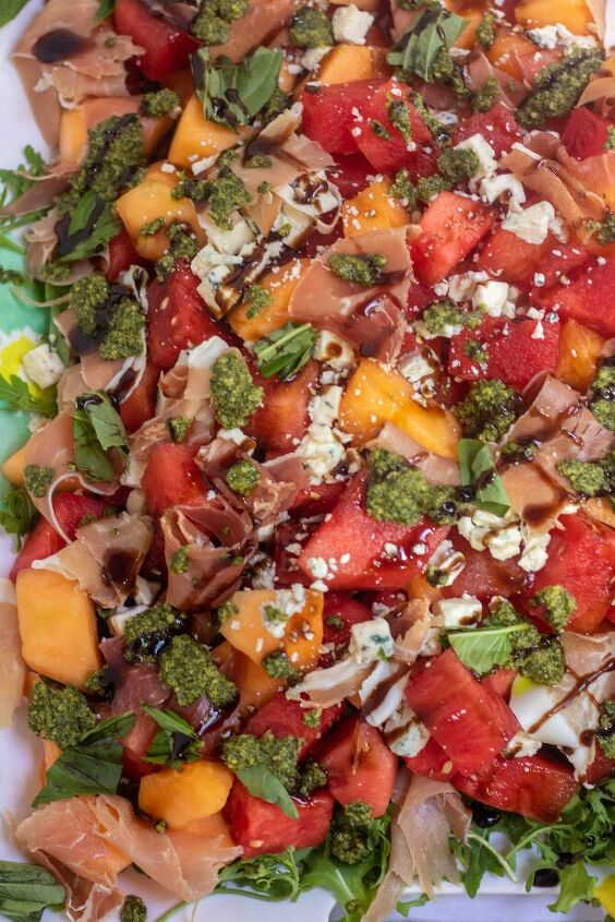 summer melon salad with prosciutto mint basil pesto