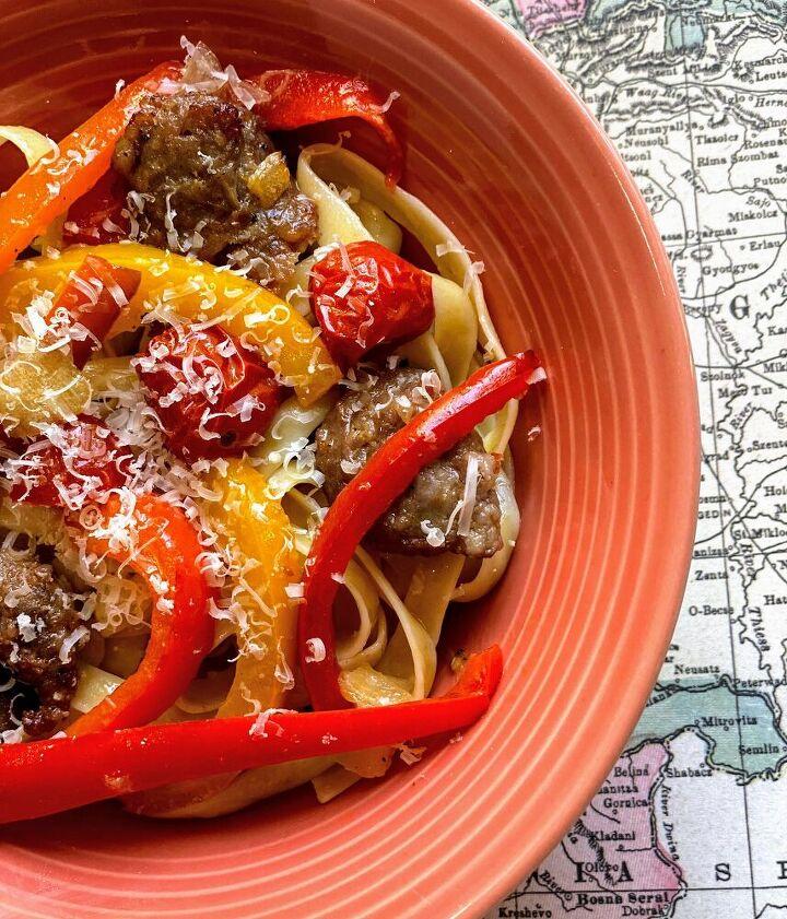 roasted sausage veggies over pasta