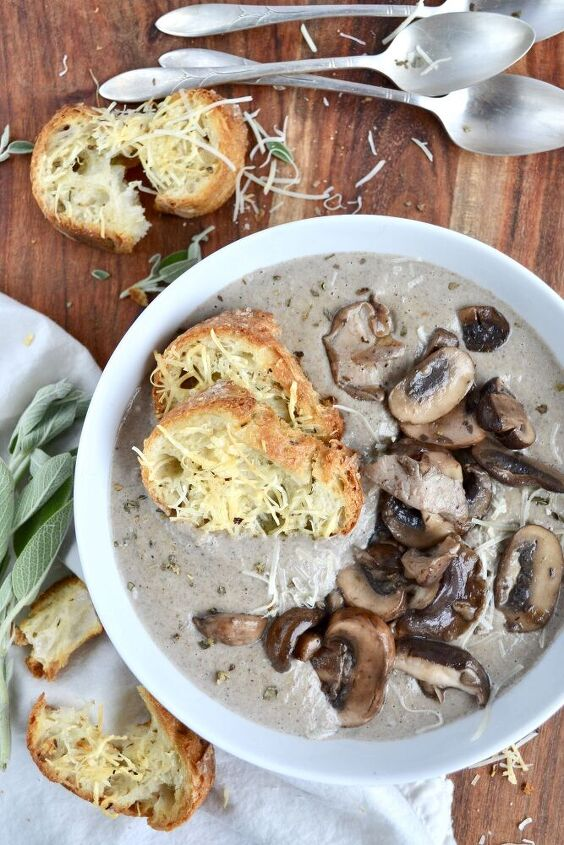 cream of mushroom soup with parmesan her toast