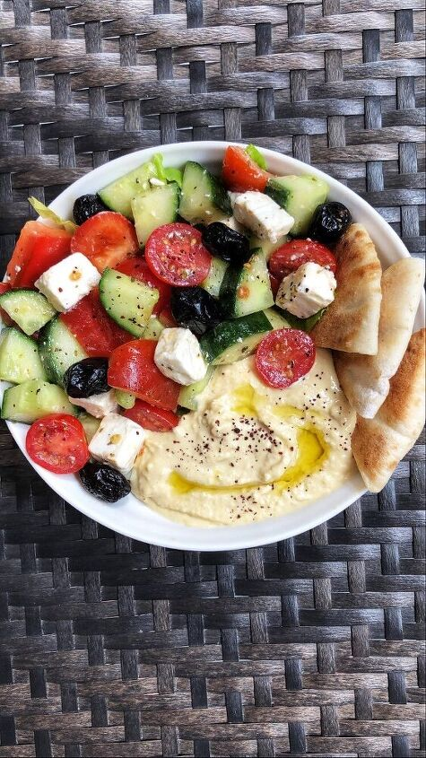 greek salad with hummus and pita