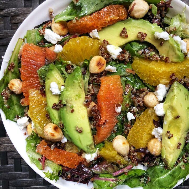 orange and avocado quinoa salad with toasted hazelnuts