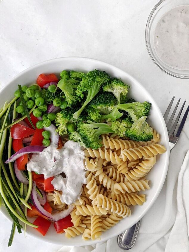 vegan pasta salad with creamy nut butter sauce