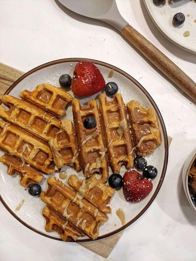 crispy fluffy sweet potato protein waffles