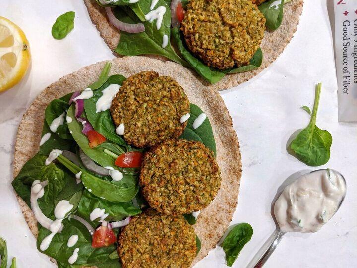 mixed vegetable falafel with cilantro yogurt sauce baked air fryer