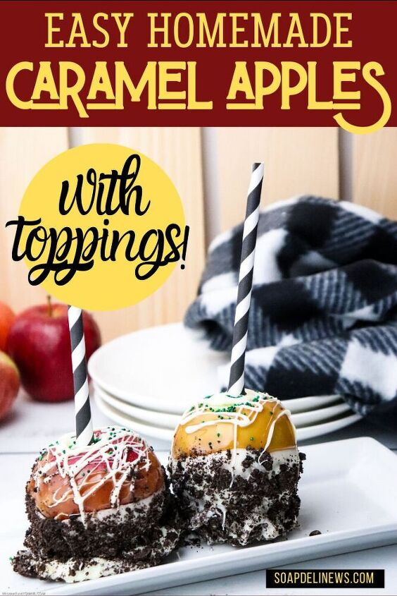 easy gourmet caramel apples recipe with crushed cookie toppings