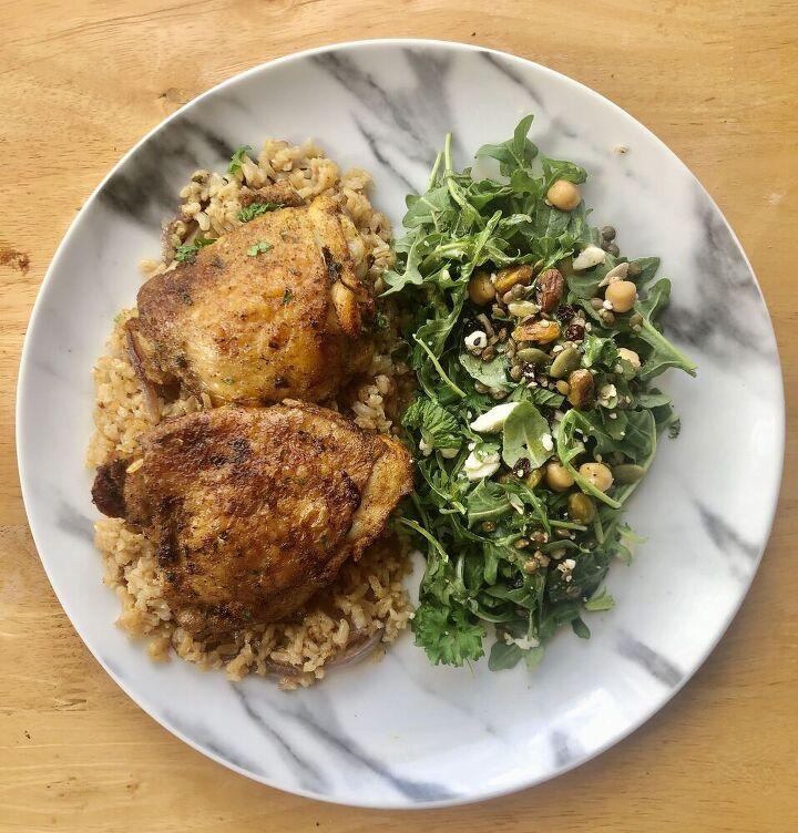 crispy chicken thighs rice