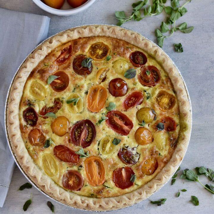 summer tomato and zucchini quiche with pesto