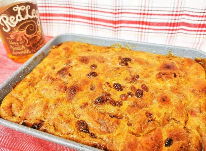 spiced rum and raisin bread pudding