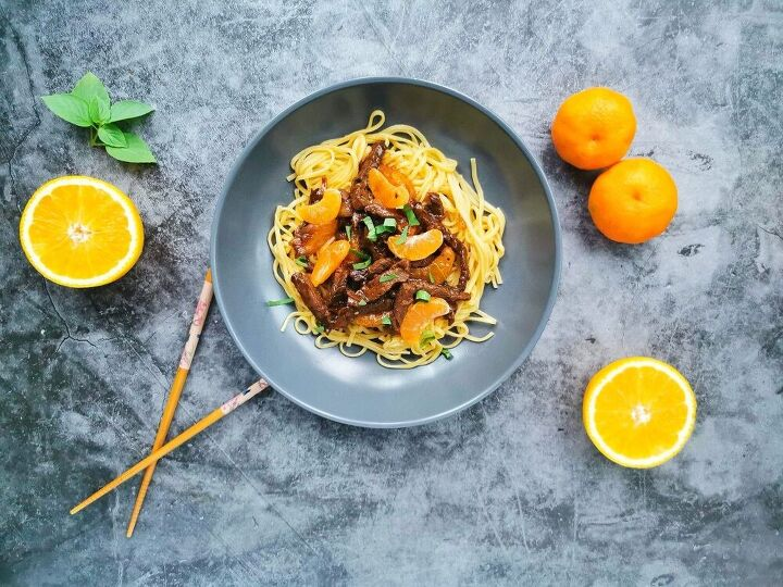 stir fried beef with tangerine