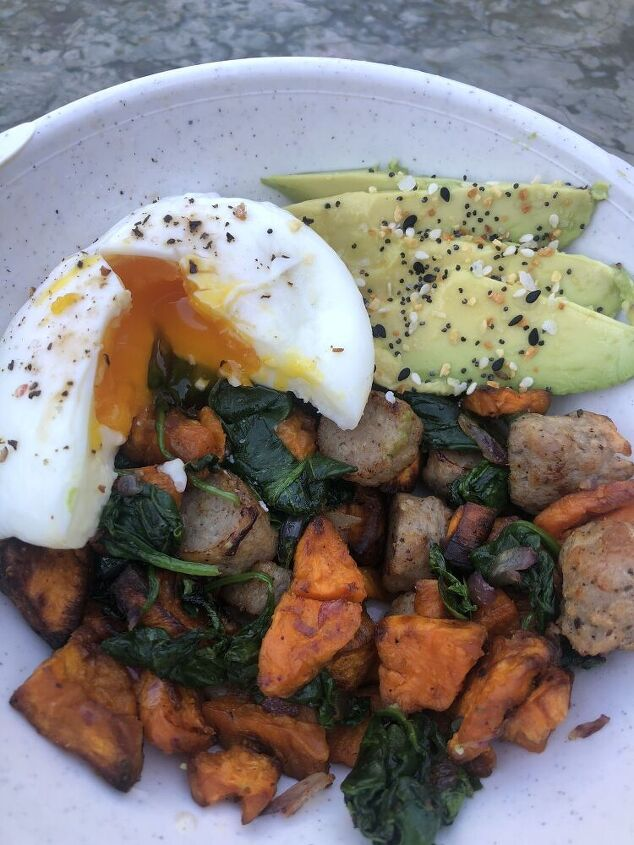 sweet potato hash with a poached egg