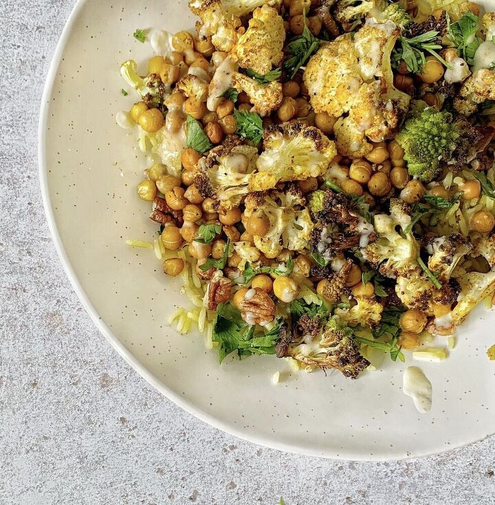 warm spiced cauliflower and chickpea salad with tahini dressing