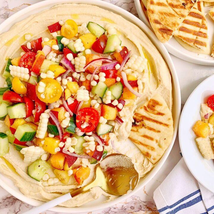 creamy hummus with summer salad