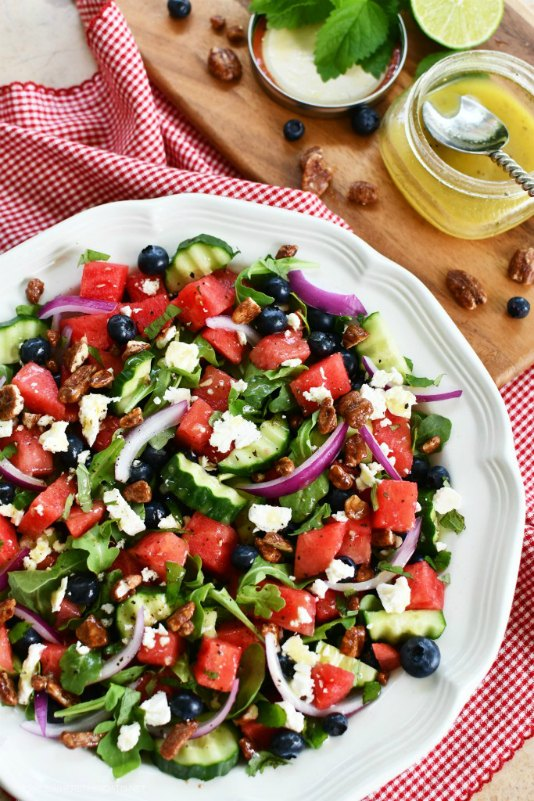 s 11 fresh ways to use watermelon this season, Watermelon Arugula Salad With Cucumber Blu