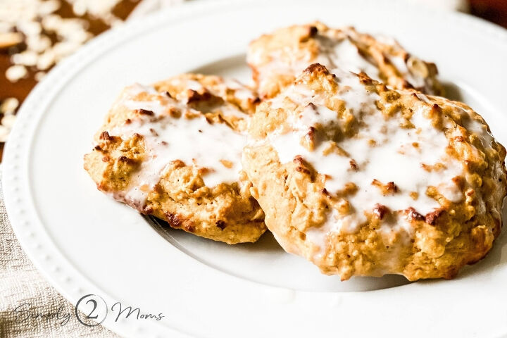 healthy peanut butter banana scones with salted caramel glaze