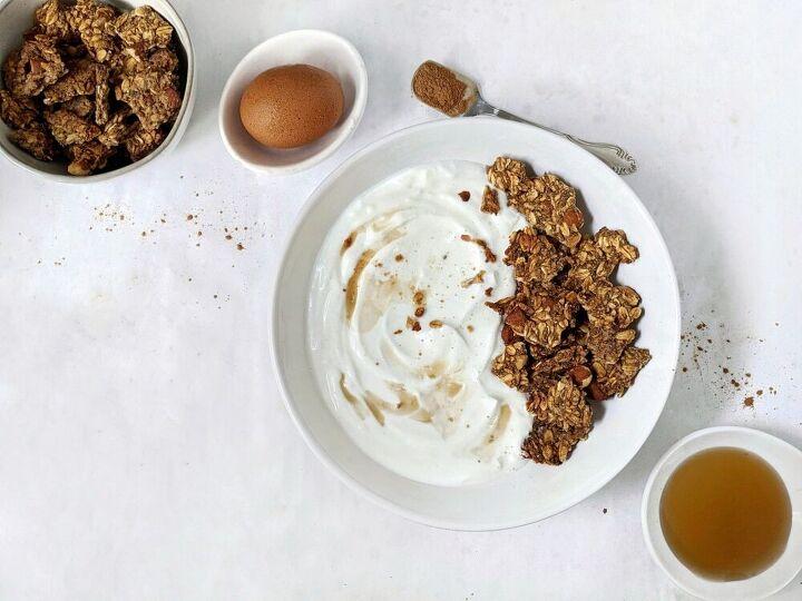 crunchy maple cinnamon egg white granola no oil