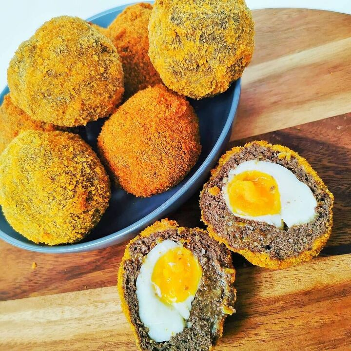 pork apple black pudding scotch eggs