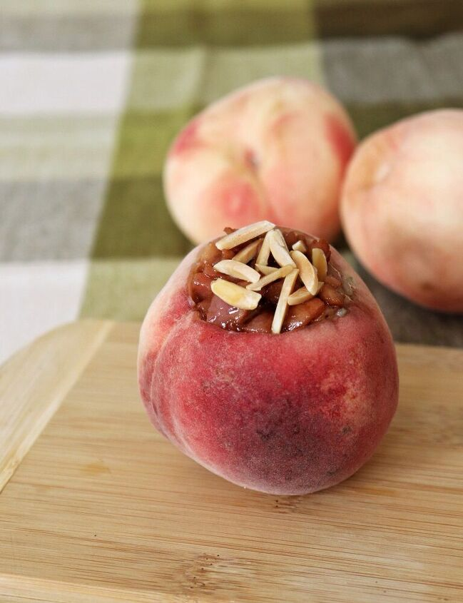 chia pudding filled peach