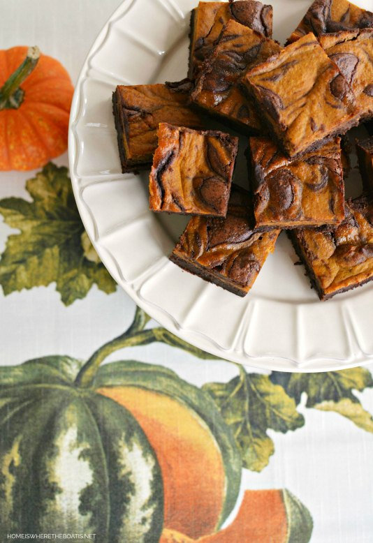s 17 fall desserts you will adore this season, Pumpkin Spice Chocolate Swirl Brownies