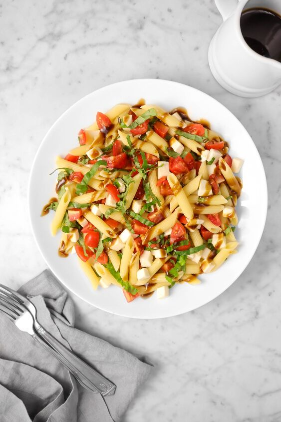 s 9 quick and easy pasta salad recipes, Caprese Pasta Salad With Balsamic Vinaigrette