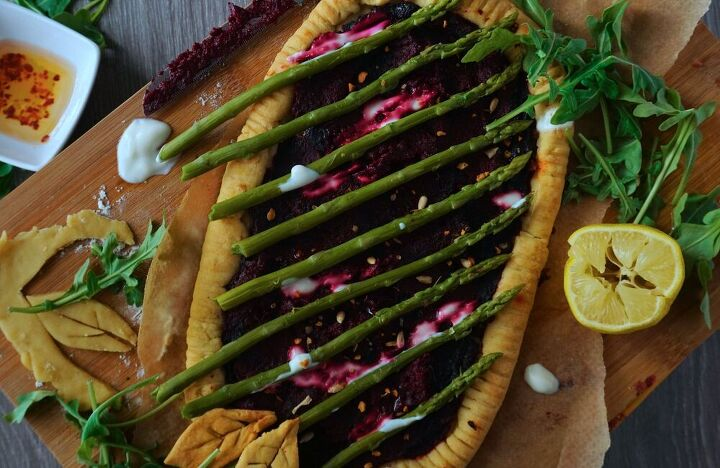 egyptian spiced beetroot tart with asparagus