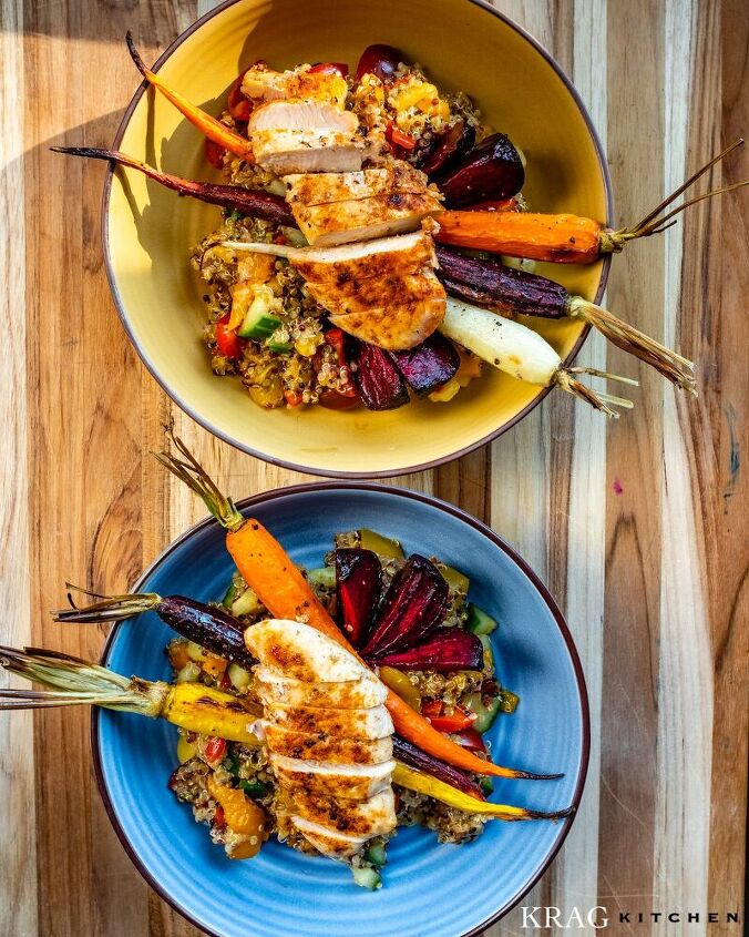morrocan quinoa chicken salad with roasted vegetables