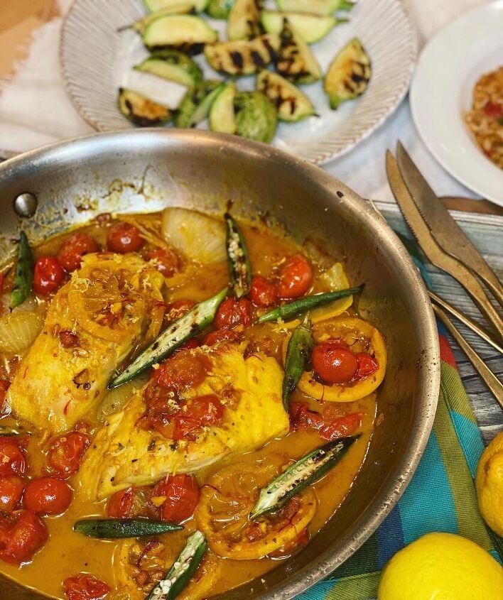 black cod in saffron and tomato broth