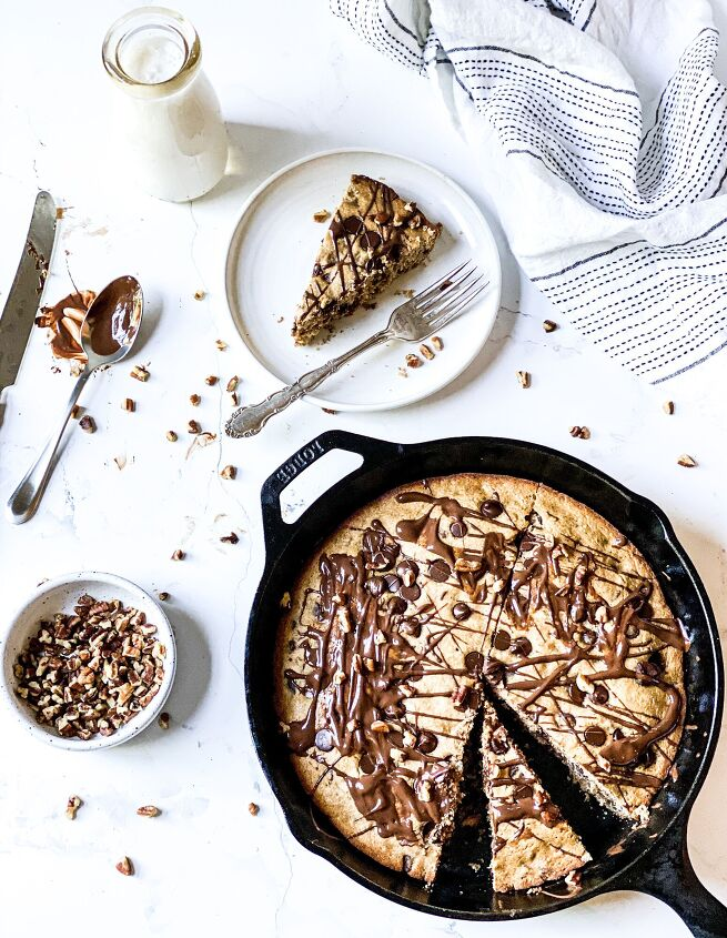 s 15 gluten free desserts that will make you forget about flour, Chocolate Chip Pecan Cookie Skillet