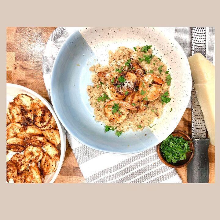 Creamy Cauliflower grits and shrimp