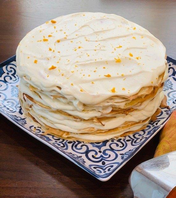 orange cream crepe cake