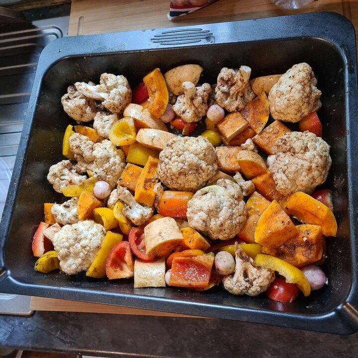 roasted lebanese vegetables lamb kofta and aubergine sauce