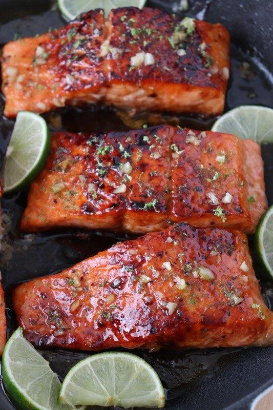 honey lime galzed salmon