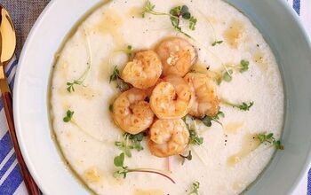 Garlic Honey Butter Shrimp With Truffle Cheddar Grits