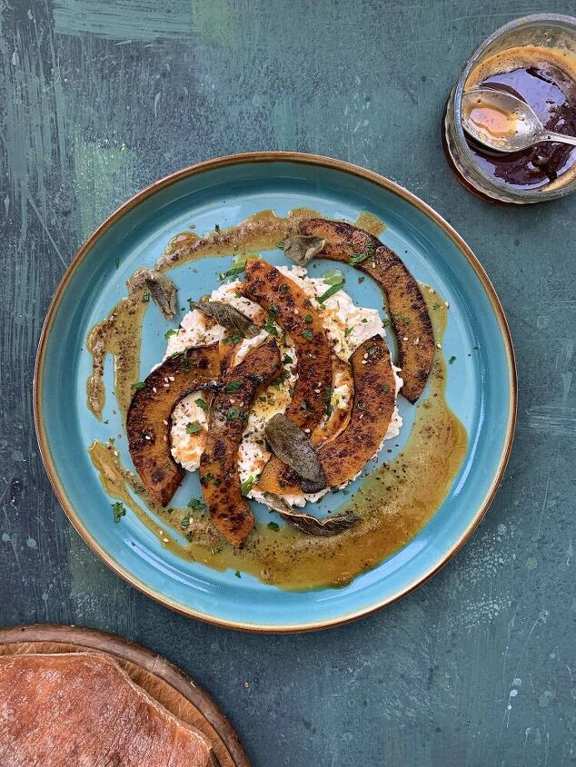 roasted butternut squash with labneh harissa brown butter and sage