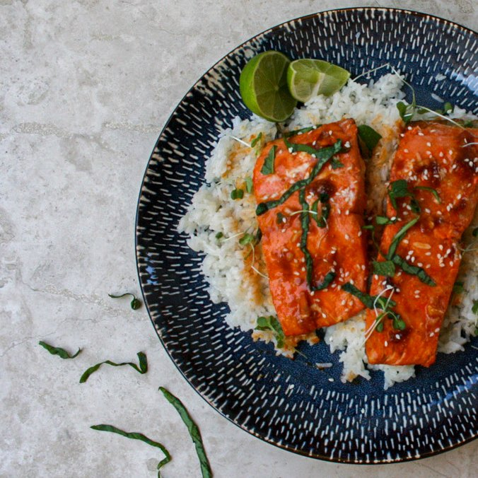 25 minute spicy salmon with coconut rice
