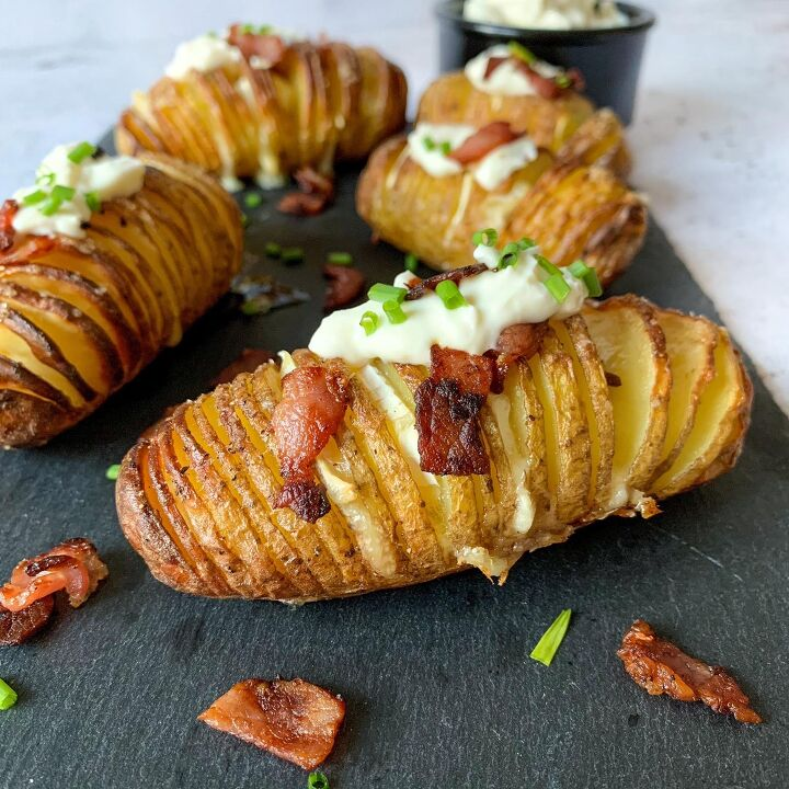 s 10 new mouthwatering ways to serve potatoes this season, Brie and Bacon Hasselback Potatoes