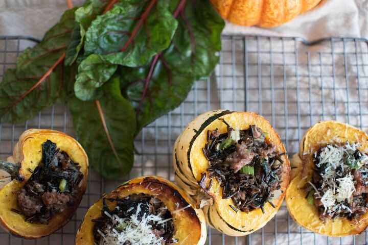 stuffed acorn squash with wild rice and italian sausage