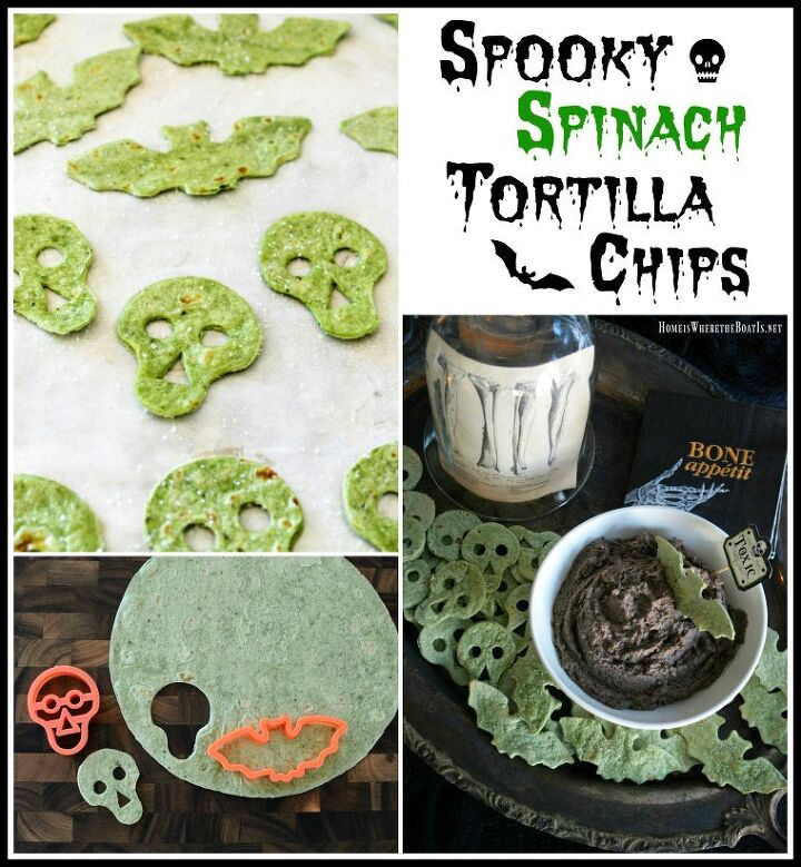 s 10 halloween treats that are even better than candy, Black Bean and Olive Hummus With Spooky Spina