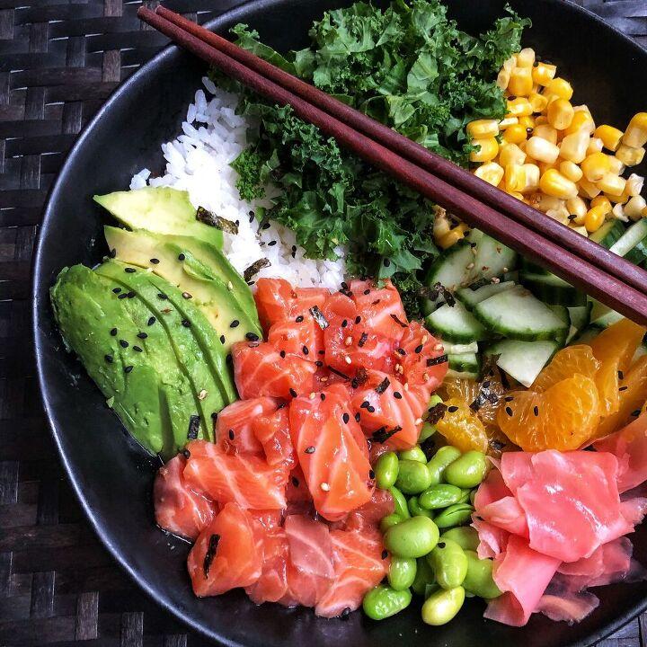 salmon pok bowls