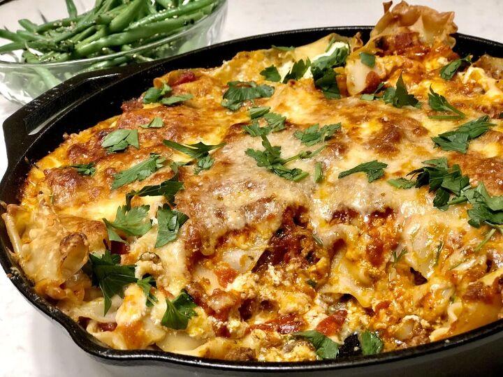 skillet meat and three cheese lasagna