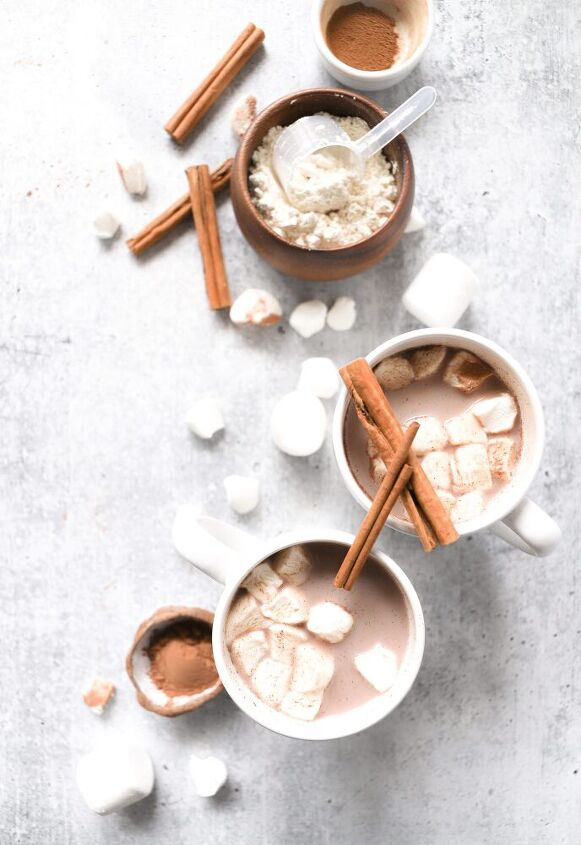 creamy hot cocoa with almond protein powder