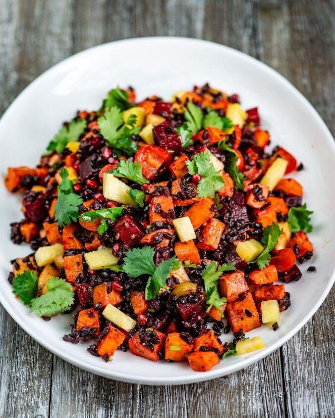 japonica black rice salad with roasted vegetables