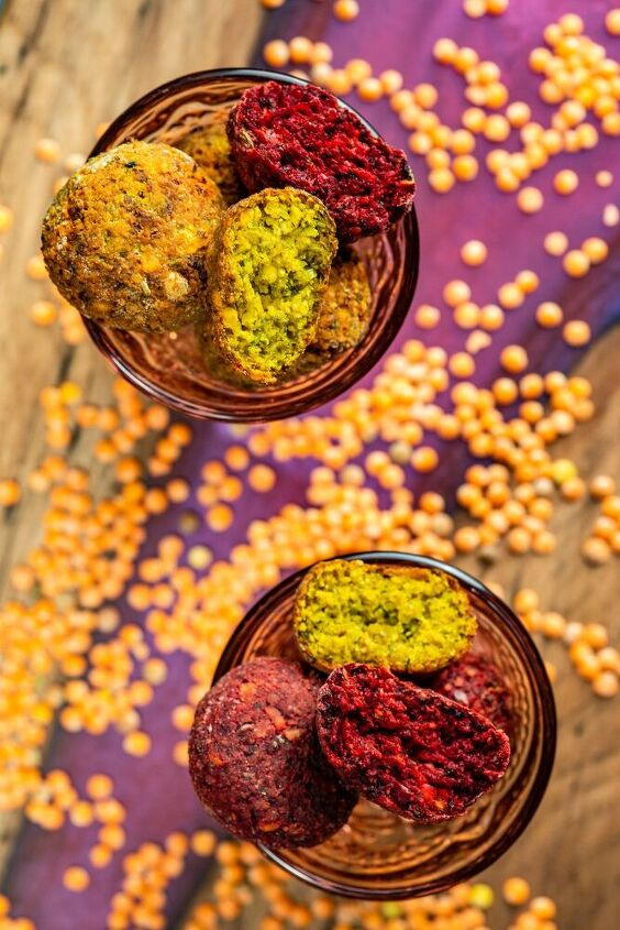 red lentil and roasted red and yellow beet falafel
