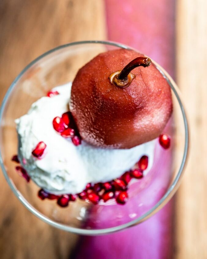 pears poached in red wine and pomegranate juice