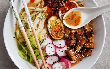 Miso Ramen With Sticky Chilli Korean Gochujang Tofu and Pickled Veg