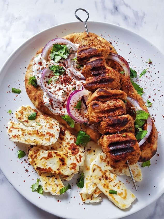 turkish chicken kebab with spicy red pepper relish