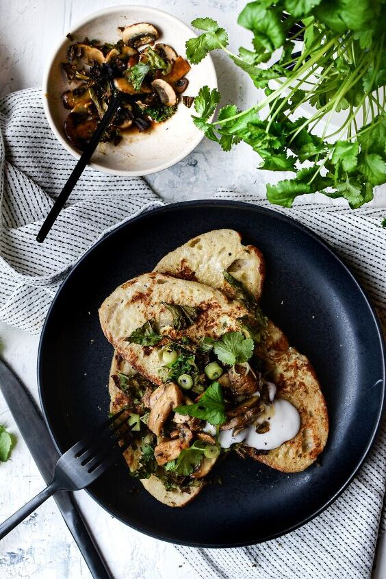 savoury french toast with miso mushrooms charred kale coconut yoghu