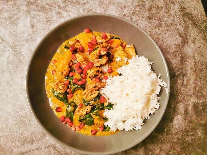 thai red chicken curry with pumpkin walnut pomegranate